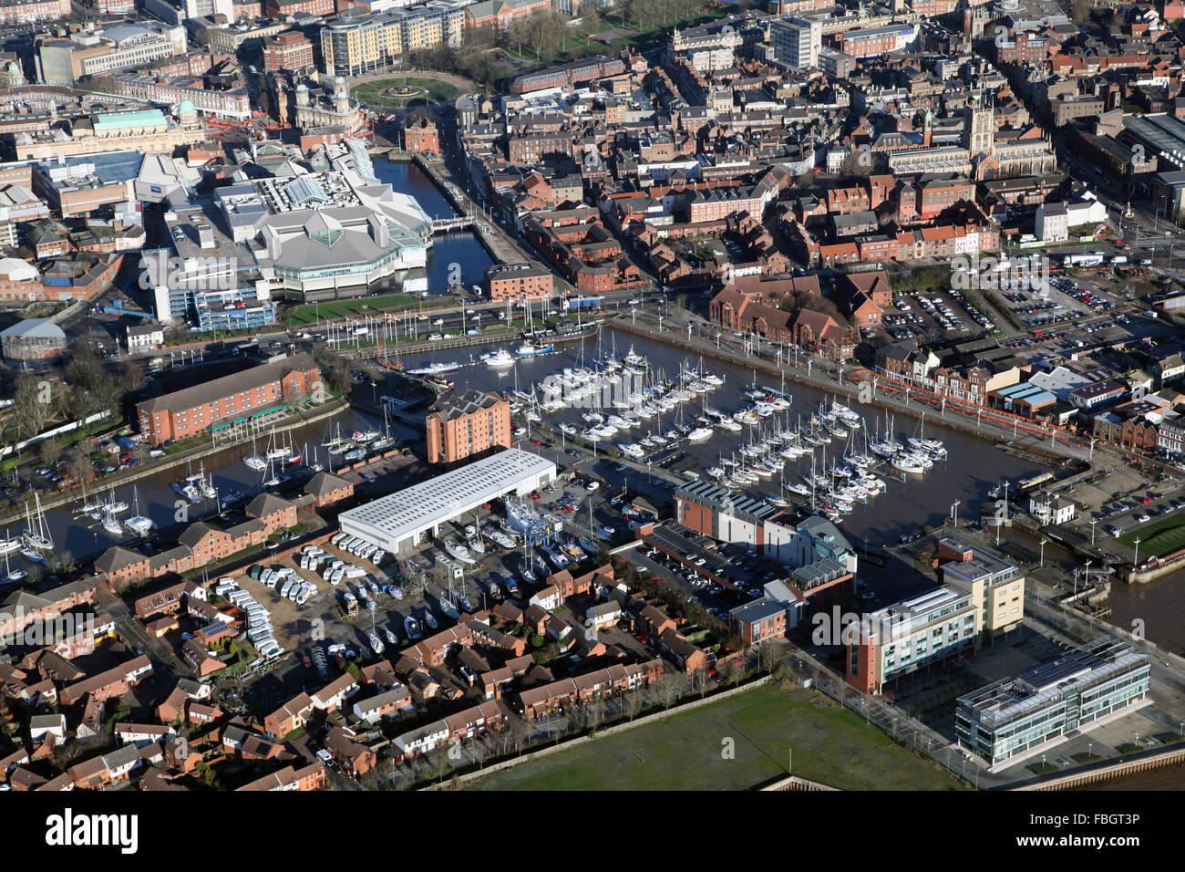 aerial view of Hull Marina and Princess Quay Shopping Centre, UK - Stock Image