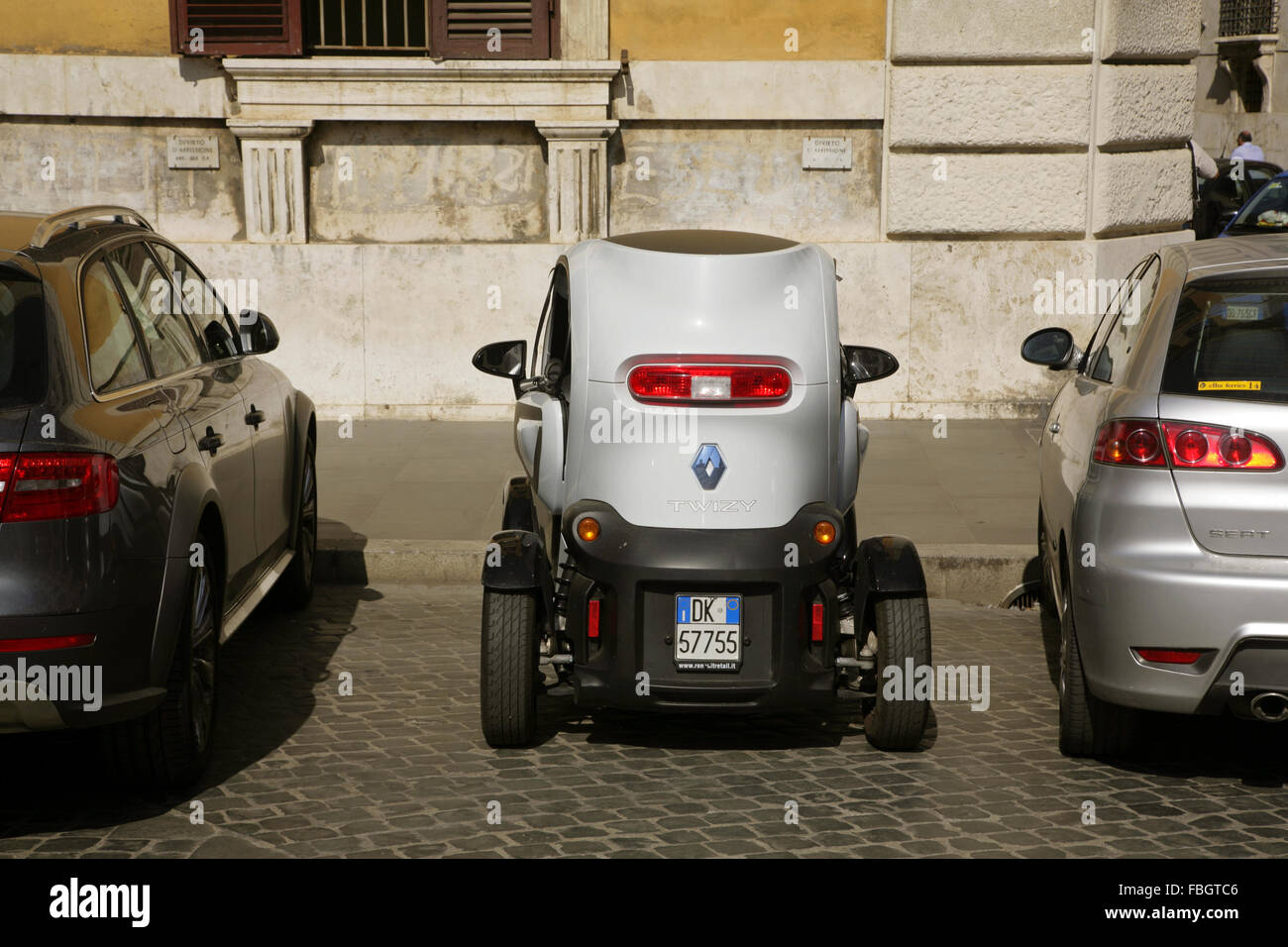 Electric Renault Twizy city car parked in Rome, Italy. Stock Photo