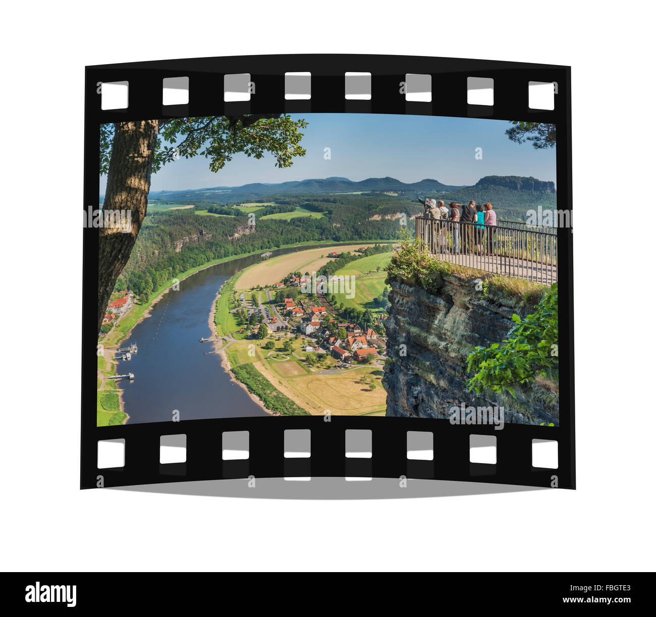 View from the Rock formation Bastei (Bastion) to health resort Rathen and the Elbe River, Saxony, Germany, Europe - Stock Image