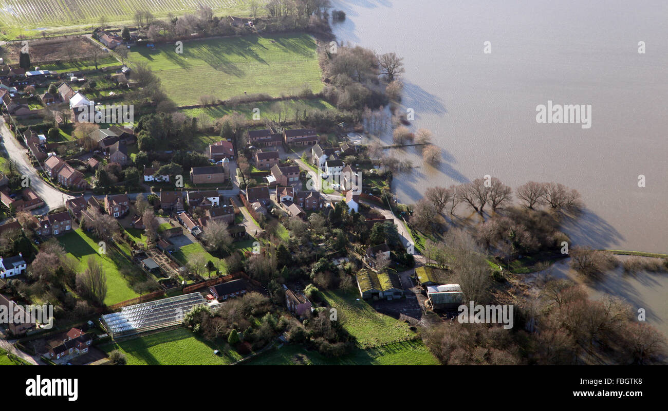 aerial view of a village on the edge of a flood plain, Yorkshire, UK Stock Photo