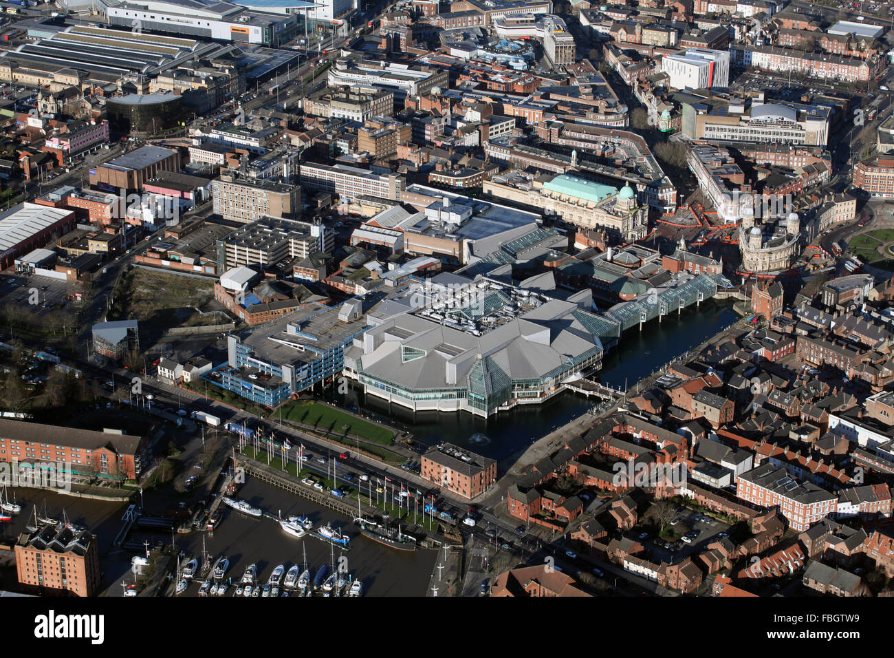 aerial view of Princess Quay Shopping Centre in Hull, UK - Stock Image