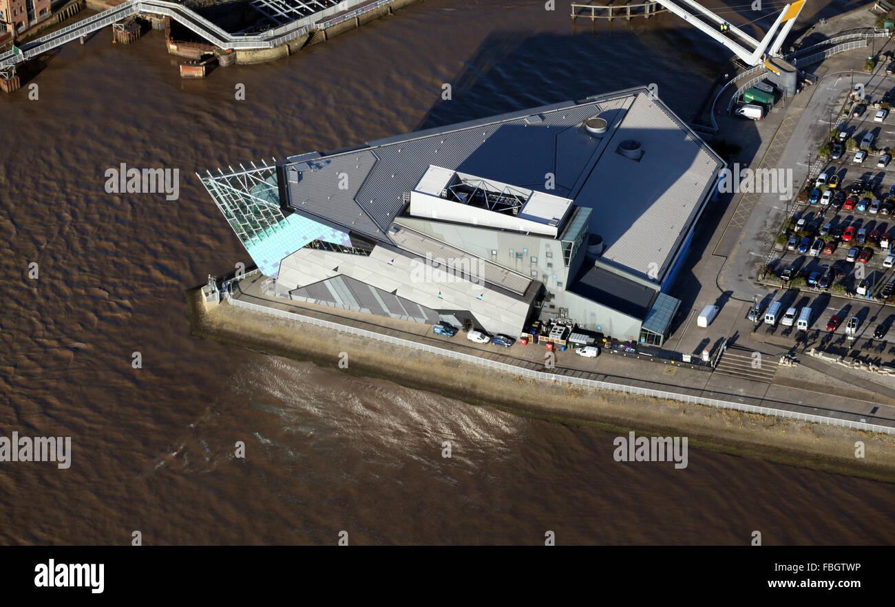 aerial view of The Deep Aquarium in Hull, UK - Stock Image