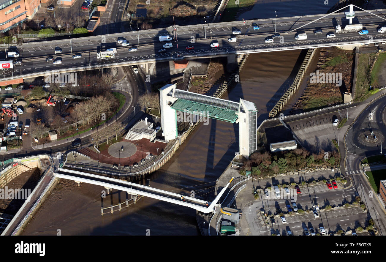 aerial view of Hull Tidal Barrier and Myton Bridge over the River Hull, East Yorkshire, UK Stock Photo