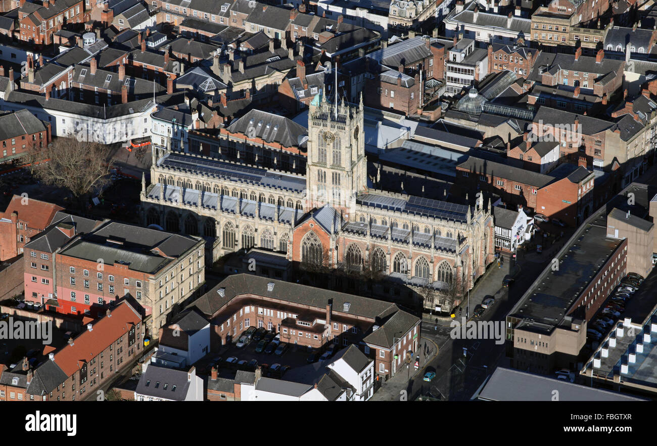 aerial view of Holy Trinity Church in Hull, East Yorkshire, UK - Stock Image