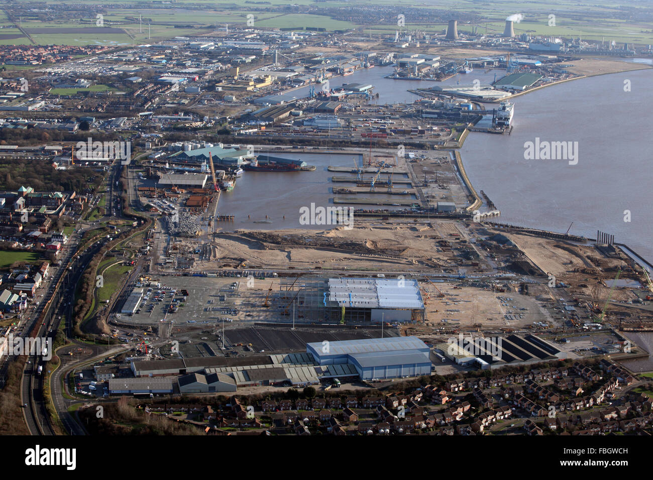 aerial view of Hull Docks, to the east of the city, East Yorkshire, UK - Stock Image