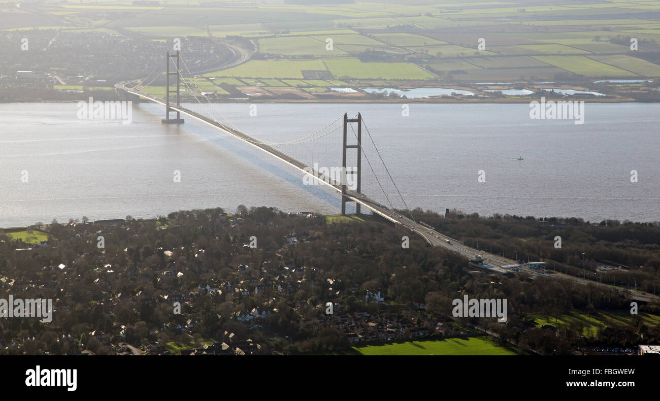 aerial view of the Humber Bridge, UK - Stock Image