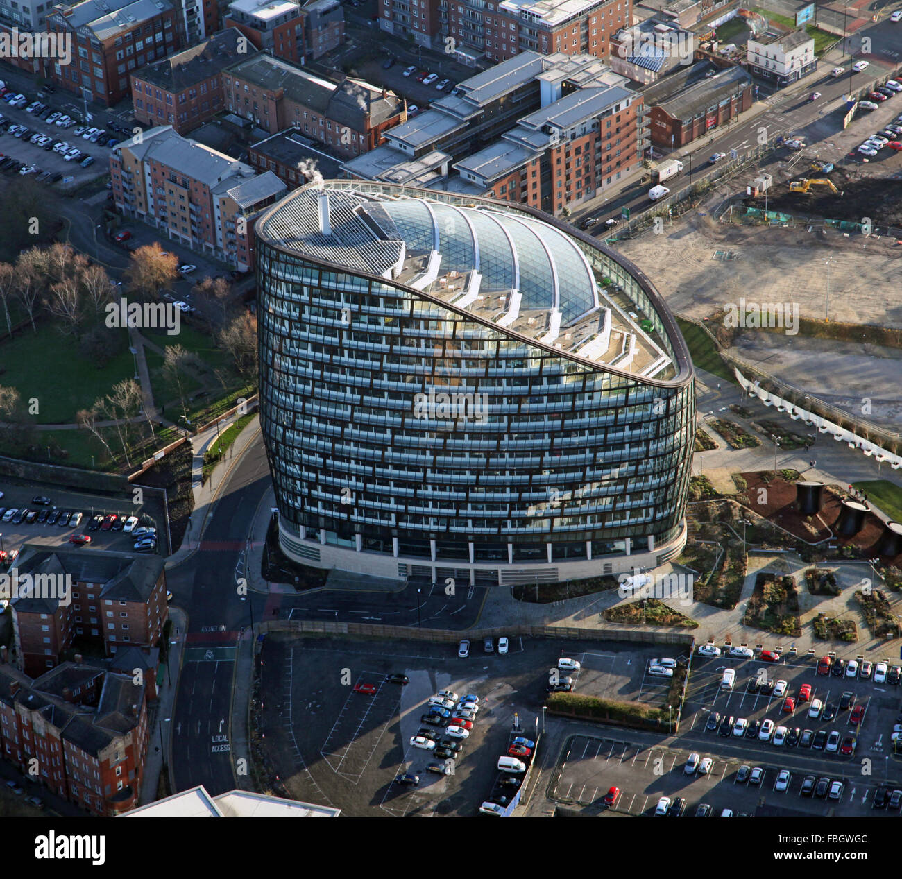 aerial view of One Angel Square, Manchester, UK - Stock Image