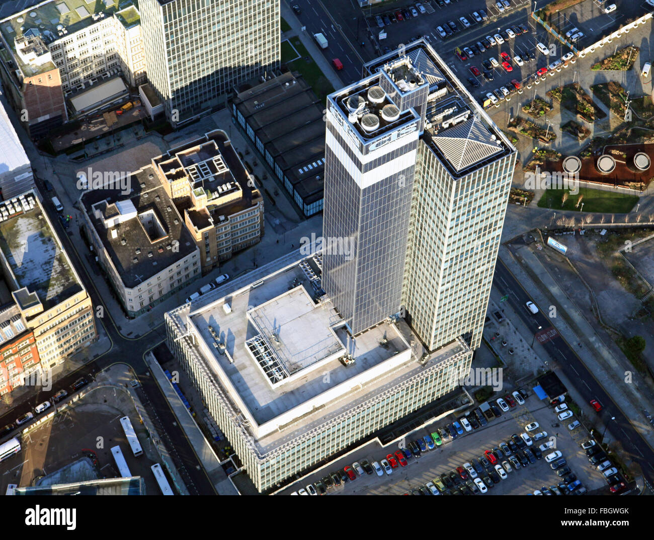 aerial view of the CIS Tower in Manchester, UK - Stock Image