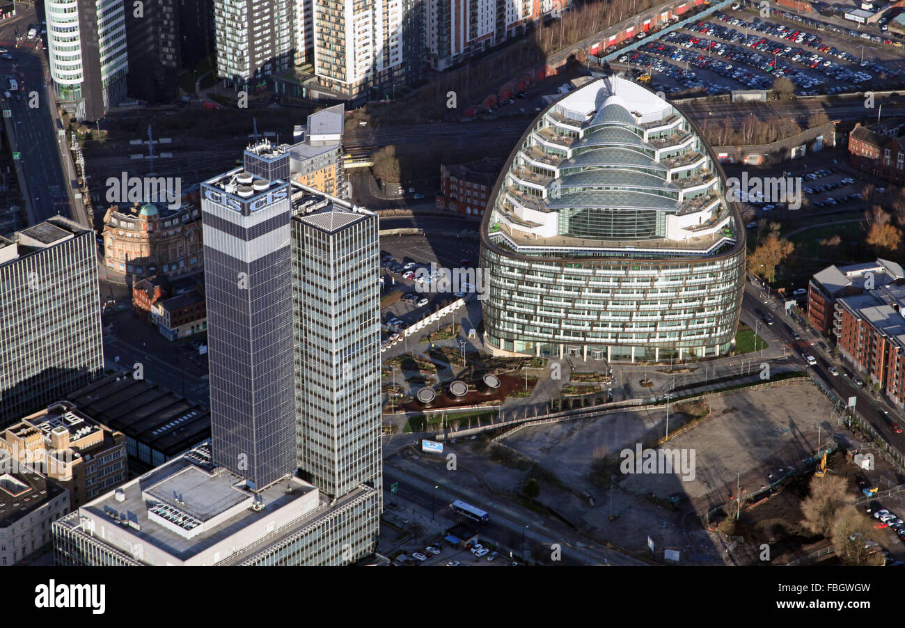 aerial view of the CIS Tower and One Angel Square, Manchester, UK - Stock Image