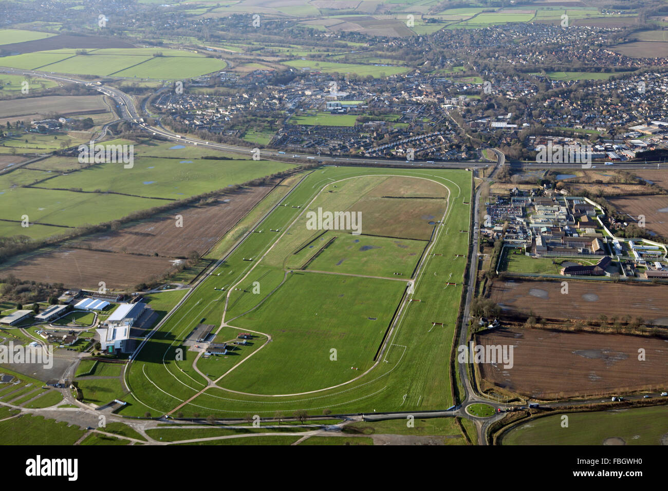 aerial view of Wetherby and the Racecourse, Yorkshire, UK Stock Photo