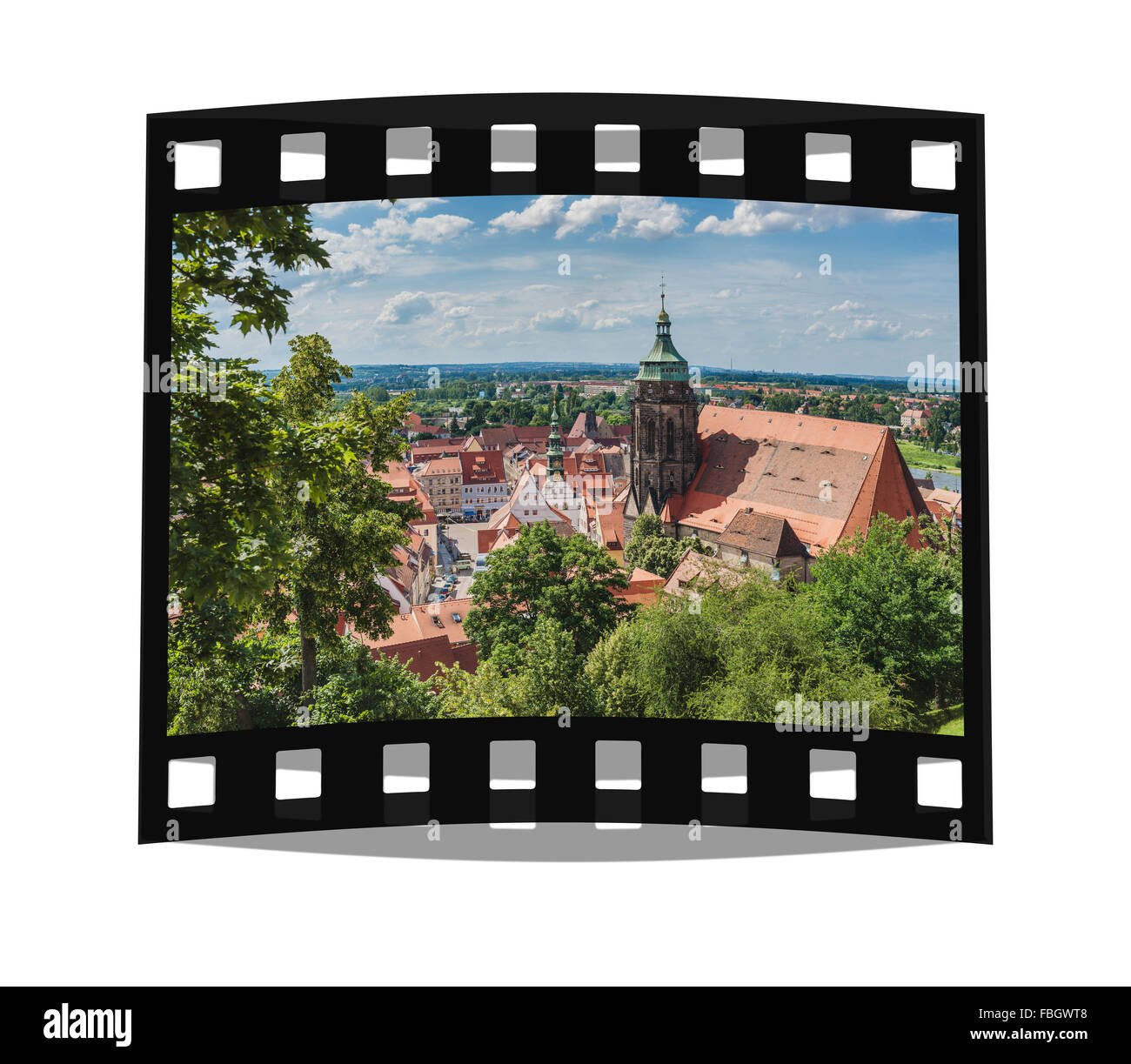 View from Sonnenstein Castle to the Church of St Mary and the town hall of Pirna, Saxony, Germany, Europe - Stock Image