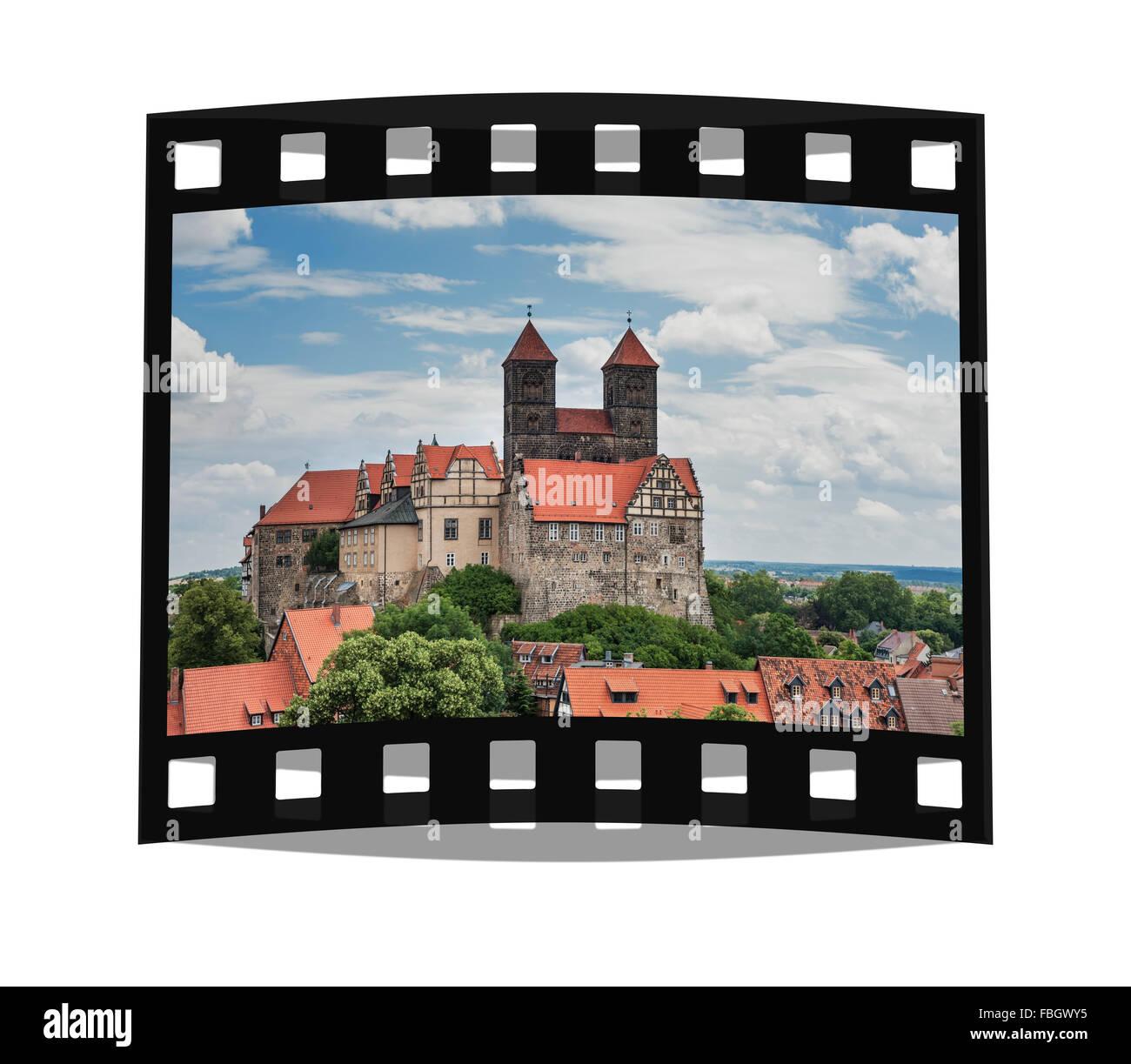 Schloss und Stiftskirche St. Servatius auf dem Schlossberg, Quedlinburg, Sachsen-Anhalt, Deutschland, Europa | Castle - Stock Image