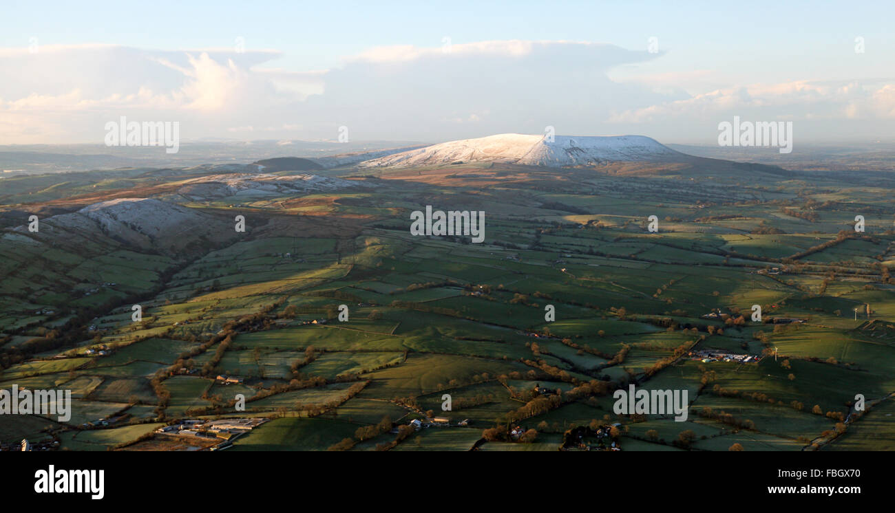 aerial view of snow capped hill in the Yorkshire Dales, UK - Stock Image