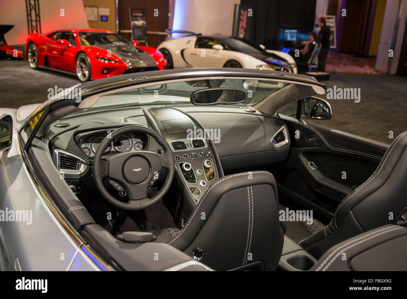 Detroit, Michigan - The Aston Martin Vanquish in a collection of ultra-luxury cars on display during the Detroit - Stock Image