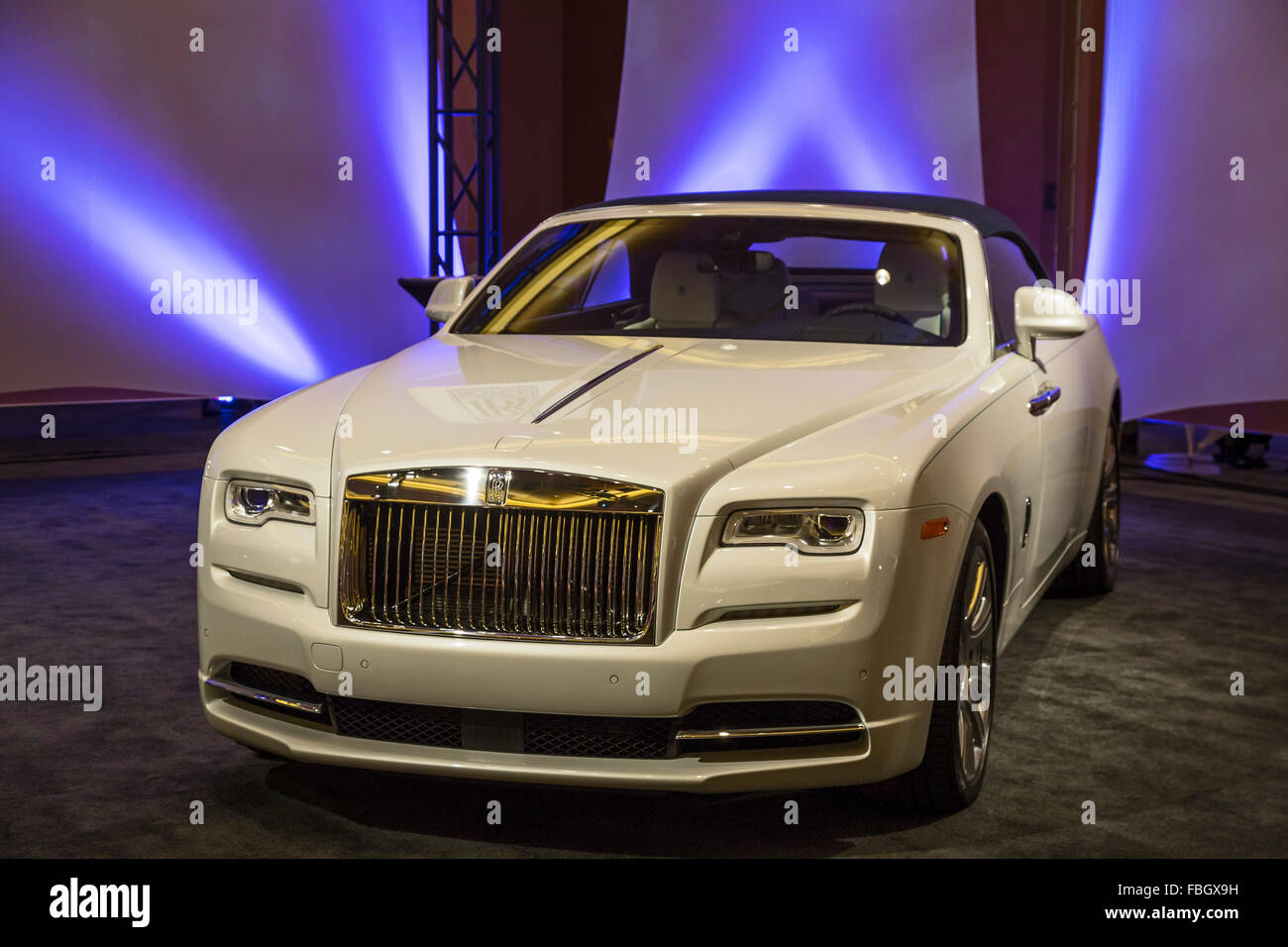 Detroit, Michigan - A Rolls Royce Dawn in a collection of ultra-luxury cars on display during the Detroit auto show. - Stock Image