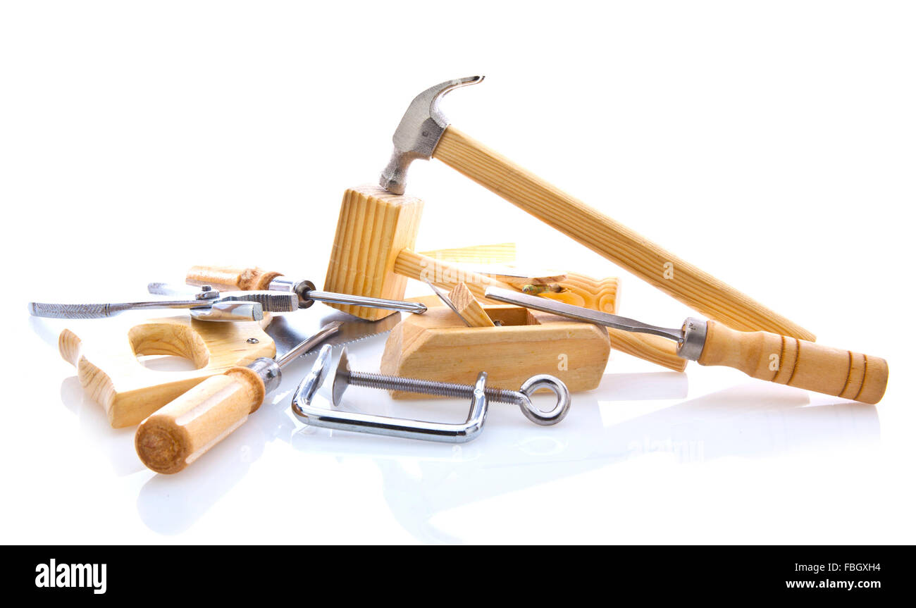 Woodworking hand tools on white background - Stock Image