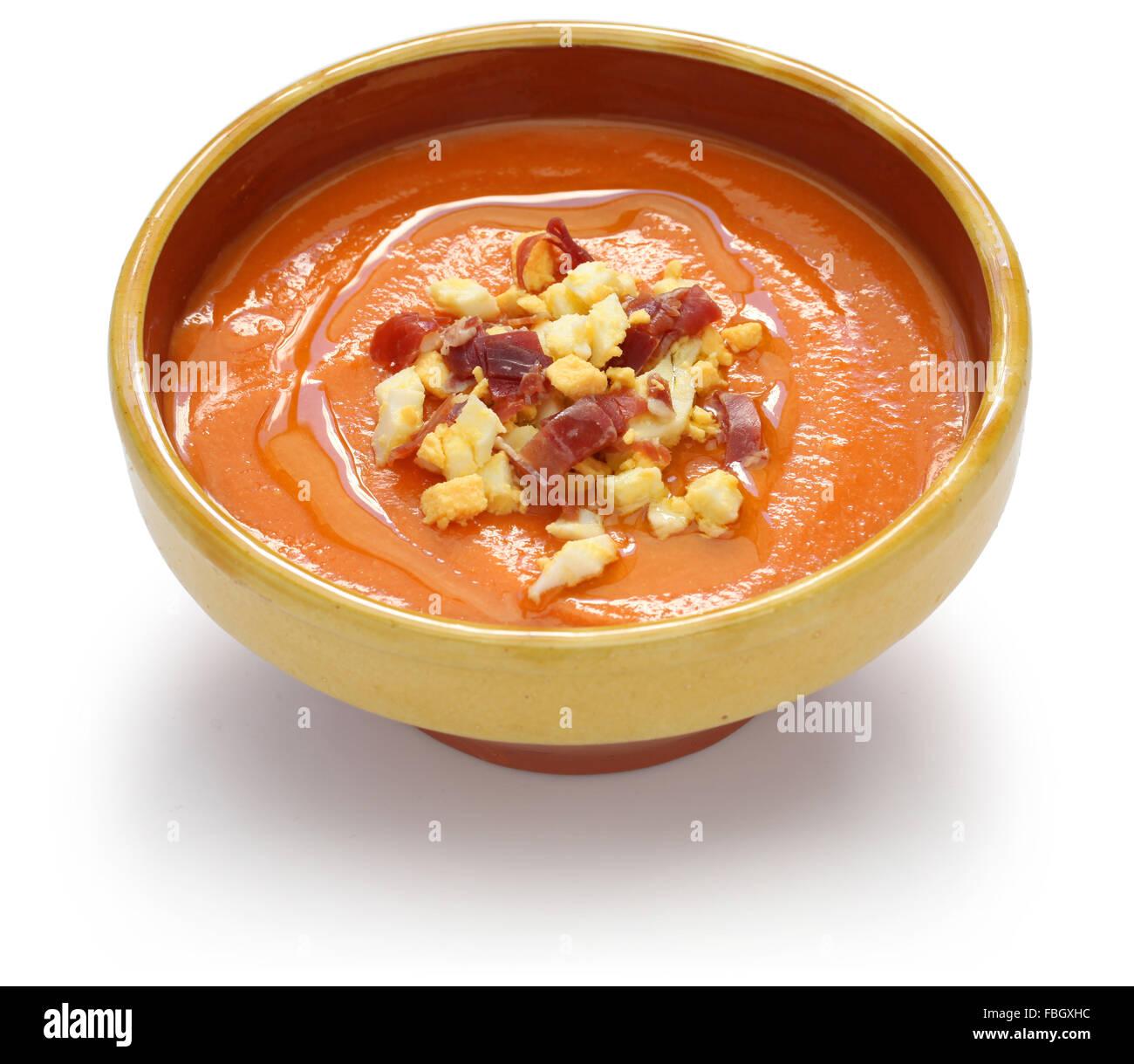 salmorejo, chilled tomato soup, spanish food isolated on white background - Stock Image