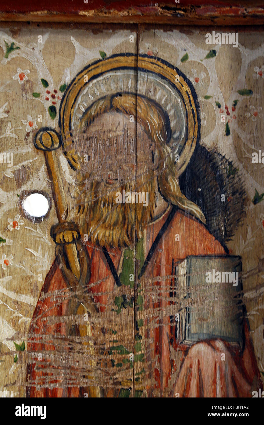 Painted Saint on the Rood Screen, Saint James the Great much defaced; St Michael's Church, Irstead, Norfolk - Stock Image