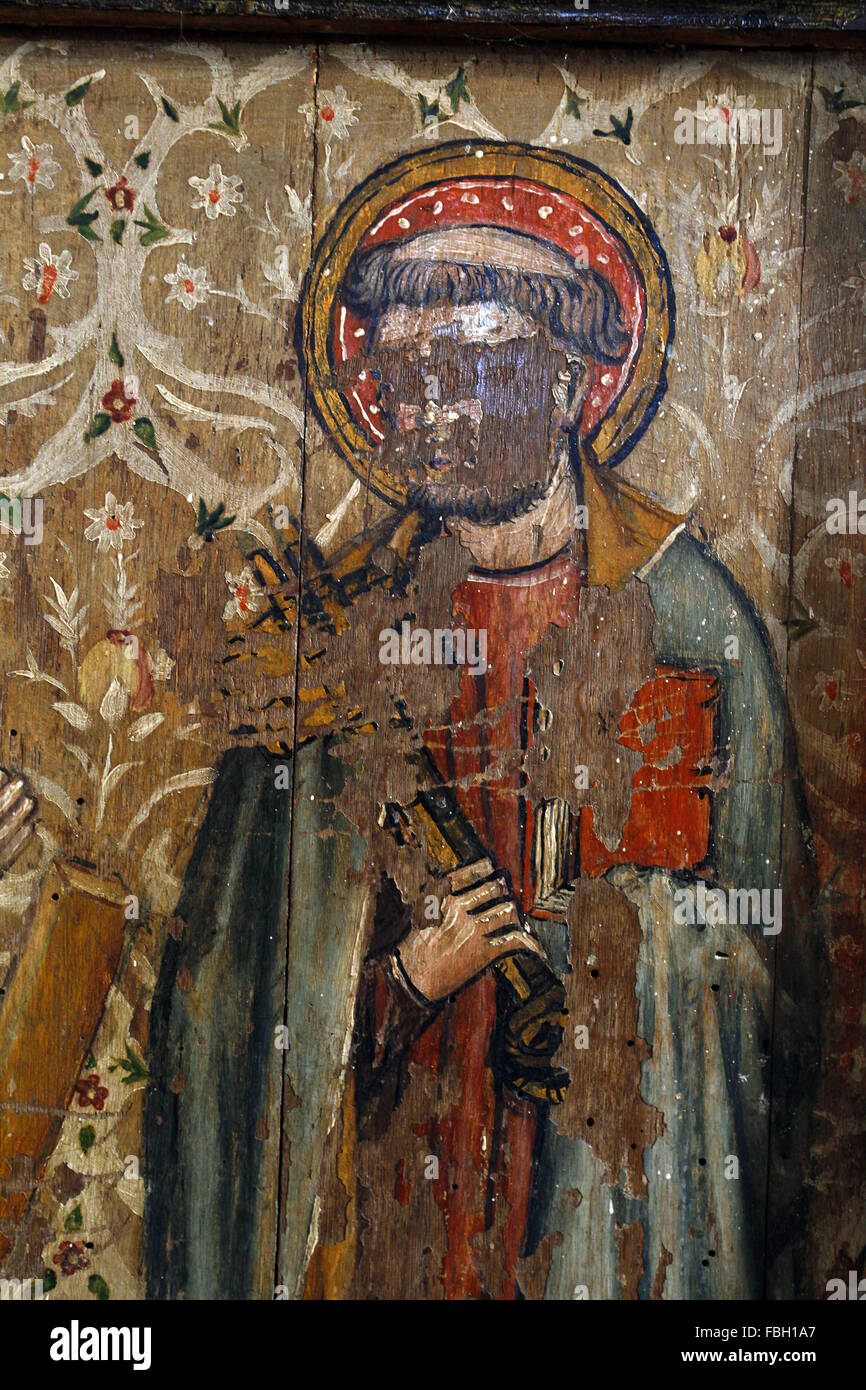 Painted Saint on the Rood Screen, St Peter holding Keys, much defaced, St Michael's Church, Irstead, Norfolk - Stock Image