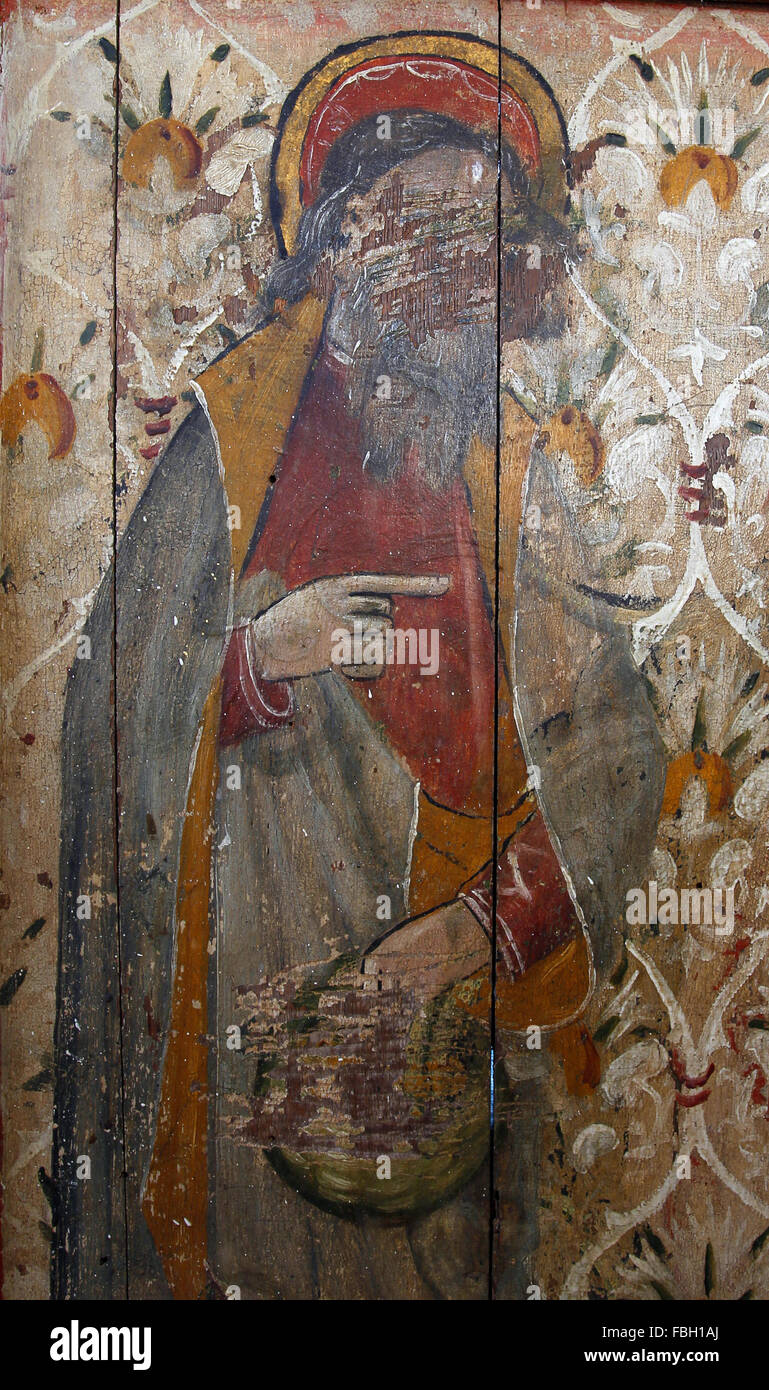 Painted Saint on the Rood Screen, St Philip holding a loaf, much defaced, St Michael's Church, Irstead, Norfolk - Stock Image
