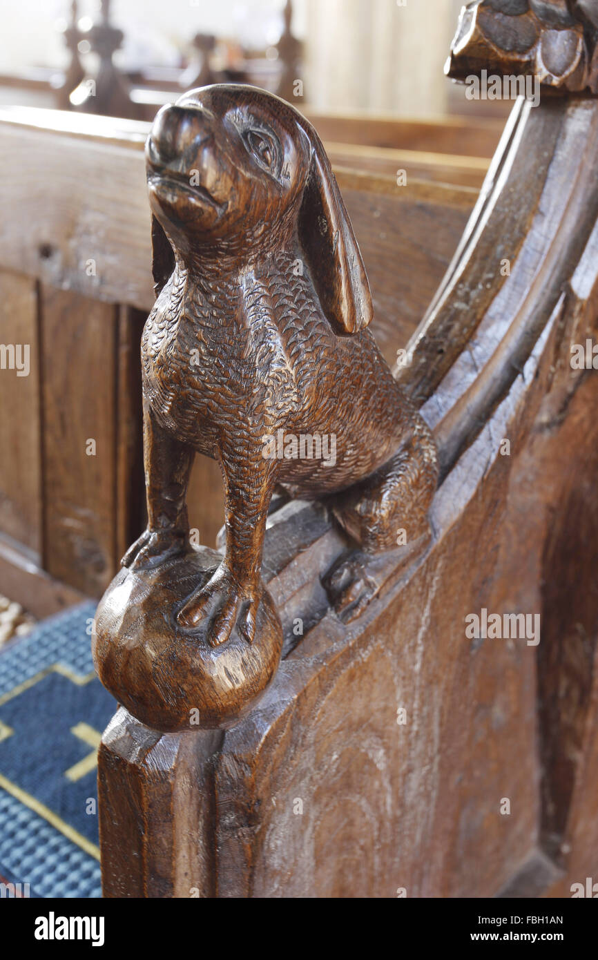 Carved animals on the pew ends, St Michael's Church, Irstead, Norfolk - Stock Image
