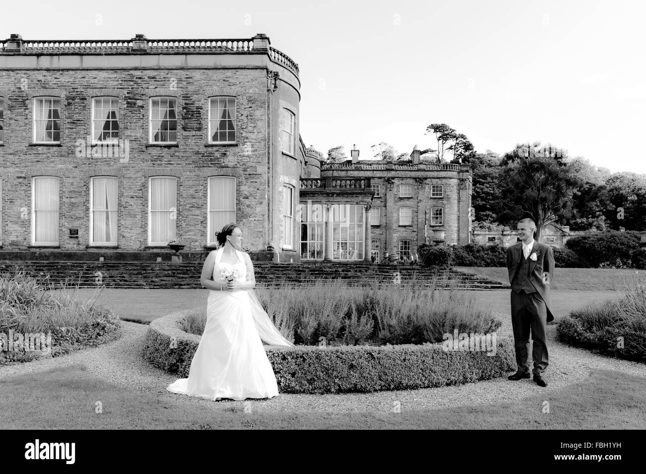 Bride and Groom are pictured in the grounds of Bantry House and Gardens, West Cork, Ireland, on their wedding day. - Stock Image