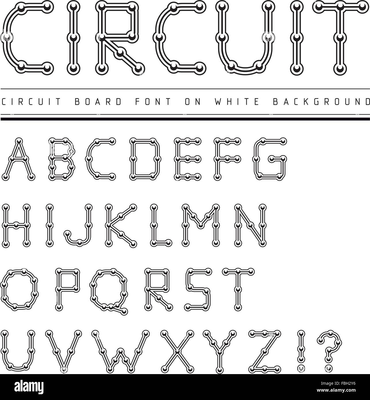 Letter From Electronic Circuit Board Alphabet On White Backgroun Stock