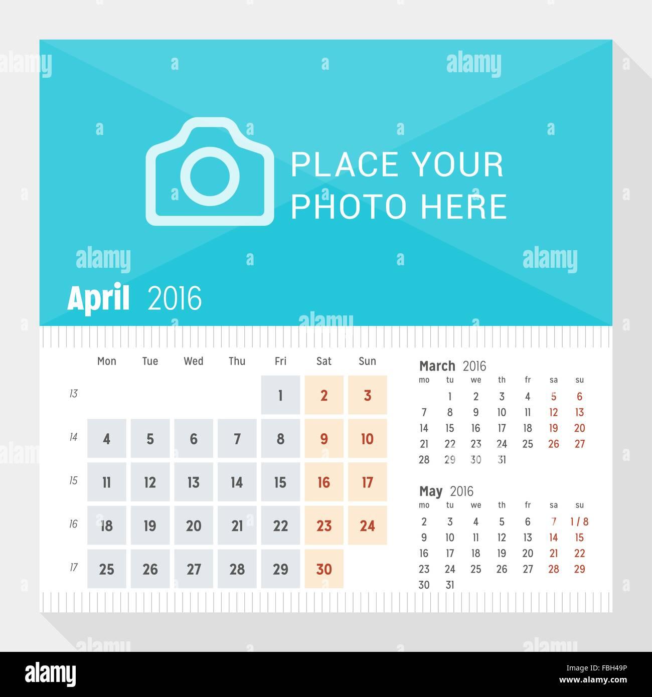april 2016 desk calendar for 2016 year week starts monday 3