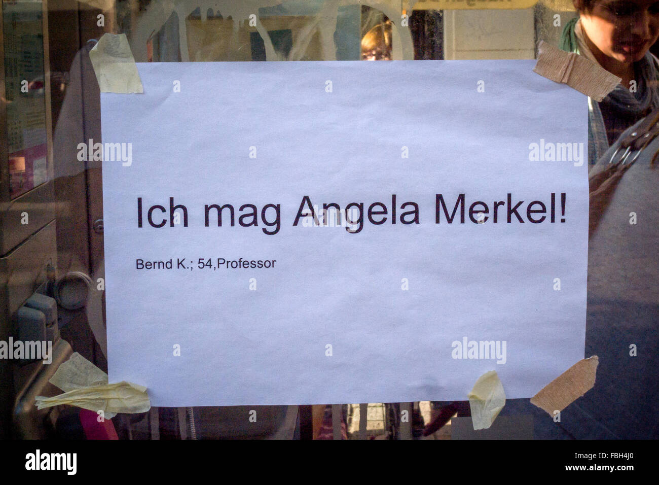 Political poster in support of Angela Merkel. - Stock Image