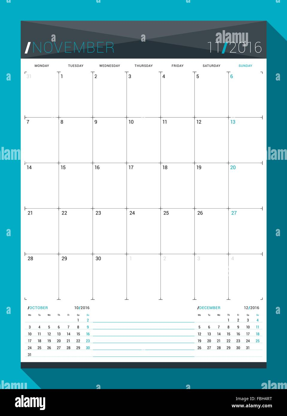 November 2016 Vector Design Print Template Monthly
