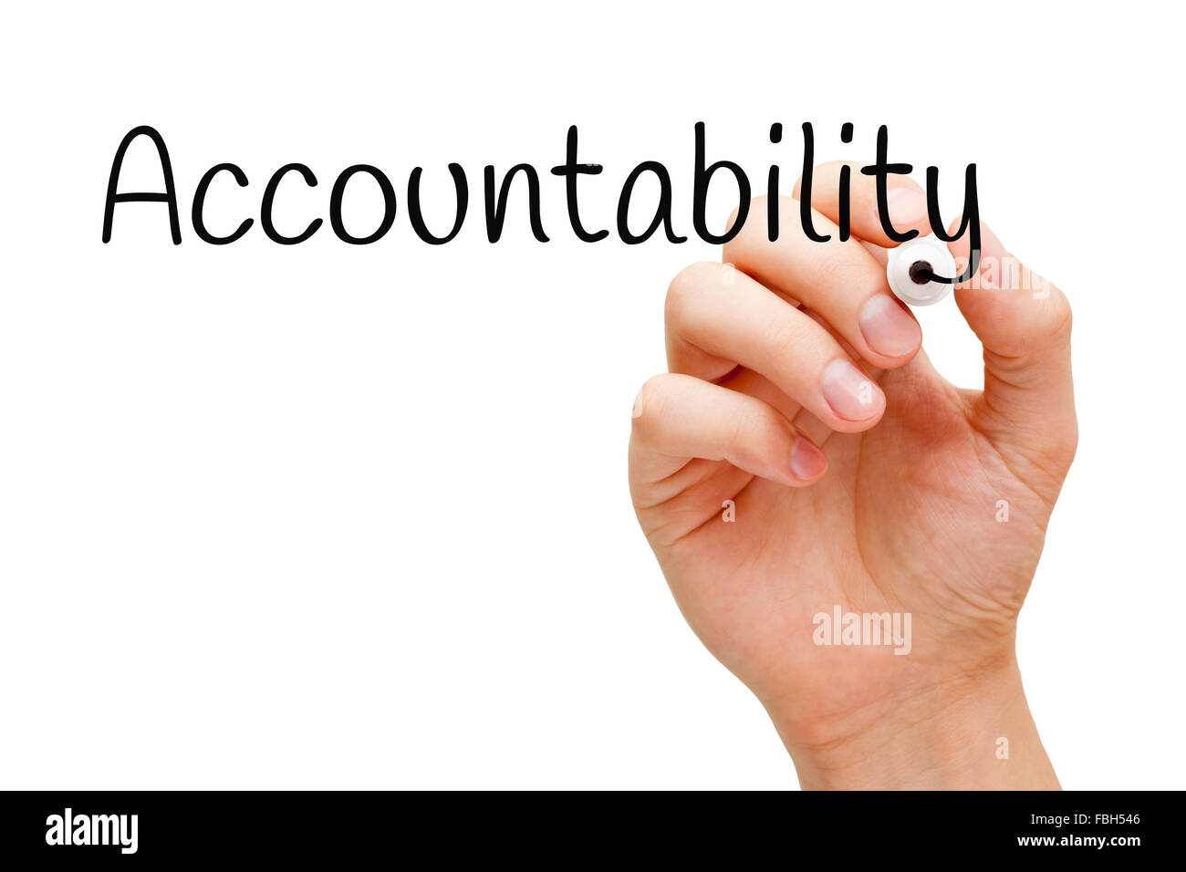 Hand writing Accountability with black marker on transparent wipe board. - Stock Image