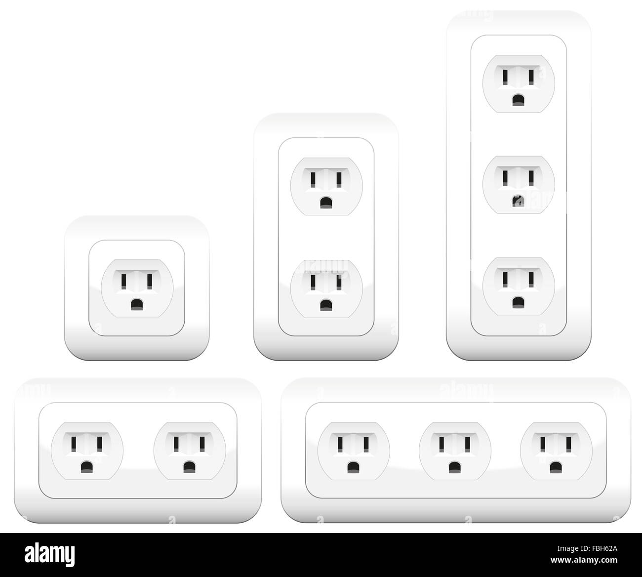 Socket variations - double and triple outlets. Illustration on white background. - Stock Image