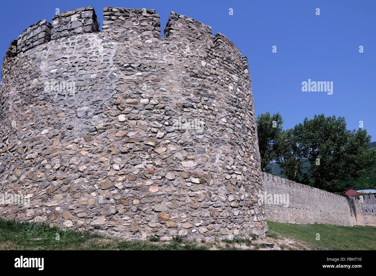 Ancient wall in Icheri Sheher which is the historical core of Baku listed in UNESCO World Heritage Site list in - Stock Image
