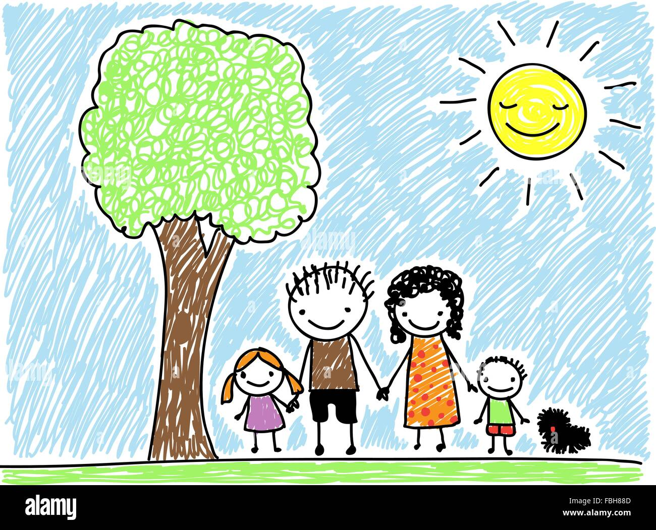 Children's drawing style family with dog - Stock Vector