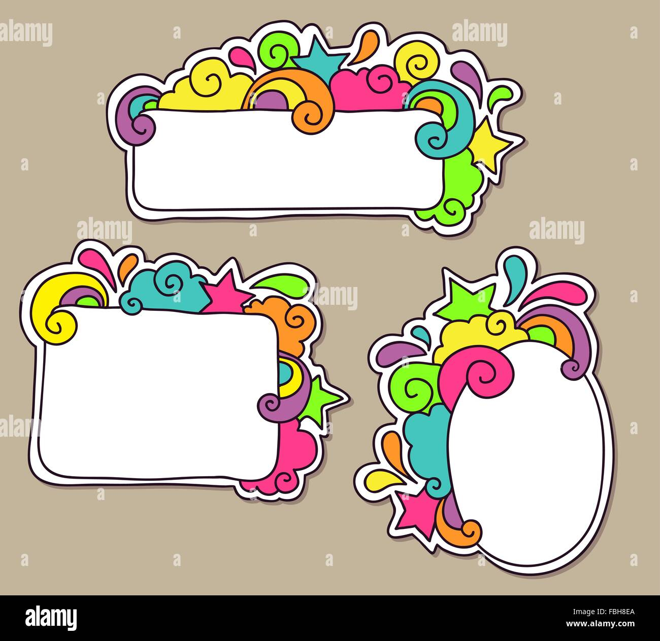 Funky colorful doodle frames Stock Vector Art & Illustration, Vector ...