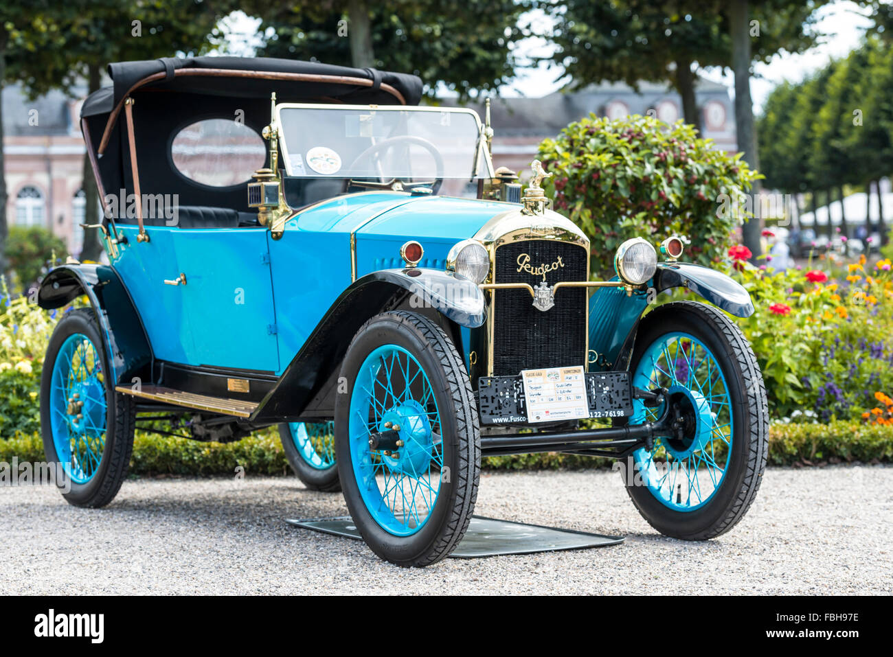 Schwetzingen, Baden-Württemberg, Germany, Peugeot Type 172 year of manufacture 1925 at the Classic gala, Concours - Stock Image