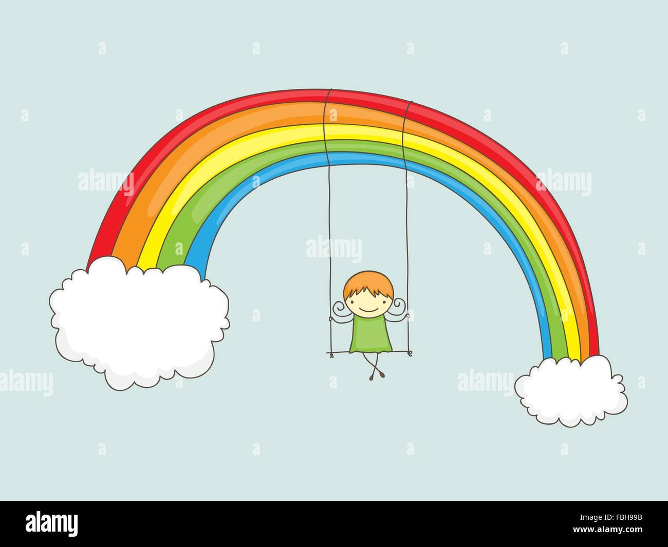 Cartoon girl swinging on a rainbow - Stock Vector