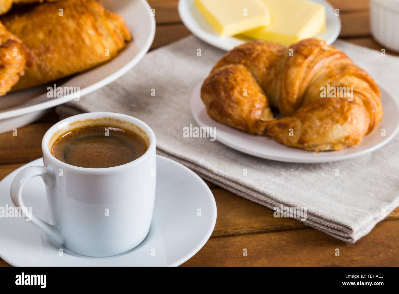 Coffee and croissants breakfast - Stock Image