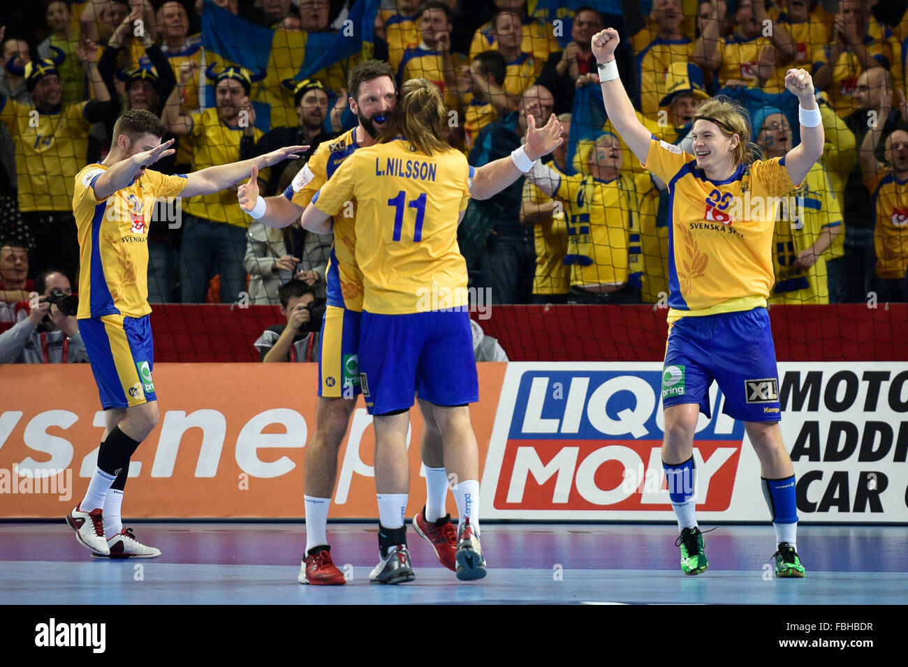 Wroclaw, Poland. 16th January, 2016. European Championships in Men's Handball, EHF EURO 2016 Group C match Sweden - Stock Image
