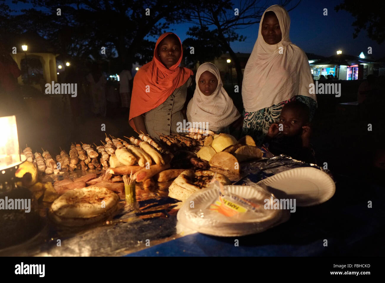 Night food market at the Forodhani gardens in Stone Town also known ...