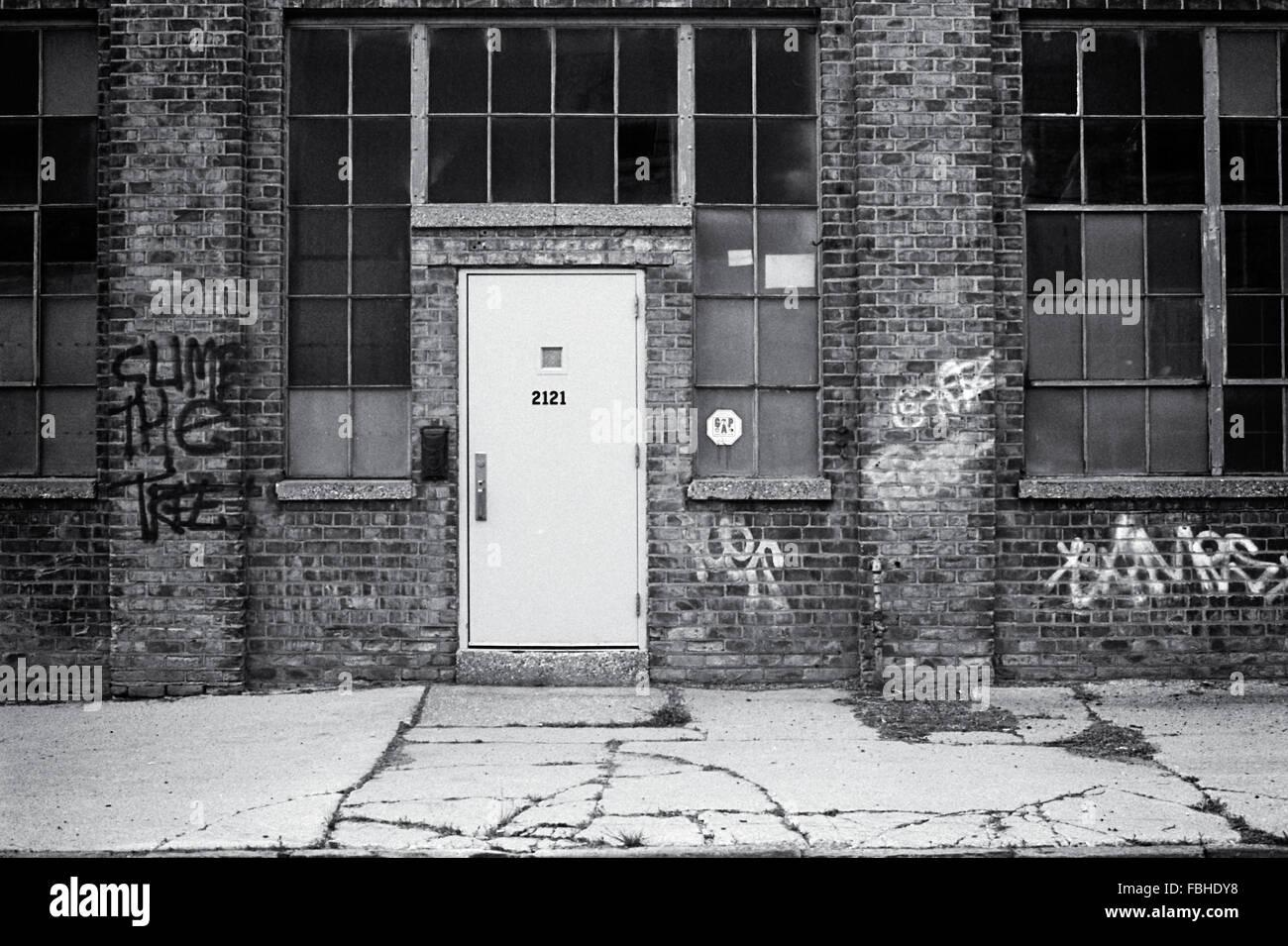 Exterior Door Of Abandoned Factory In Detroit