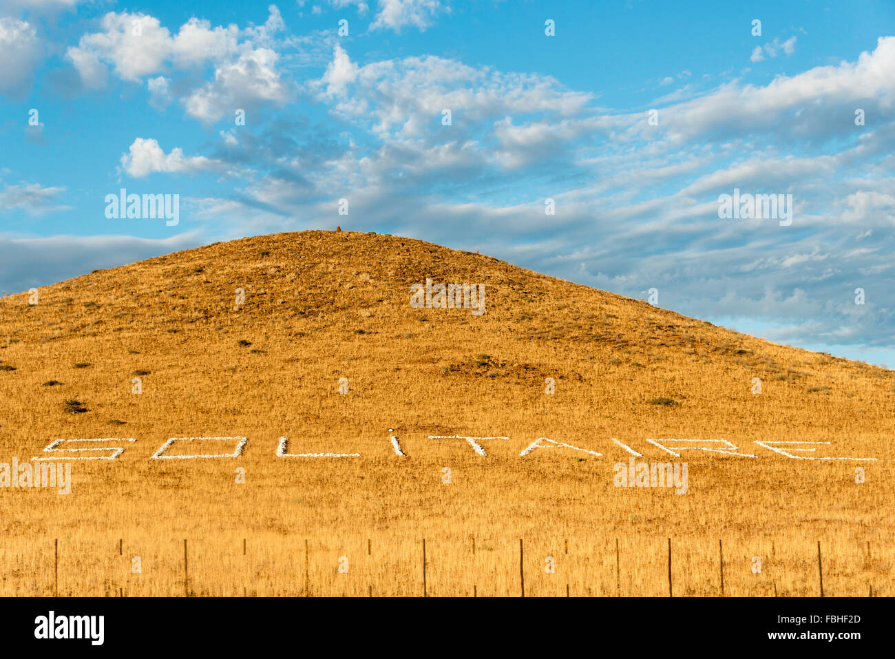 Hillside town sign, Solitaire, Namib Naukluft Park, Namib Desert, Republic of Namibia - Stock Image