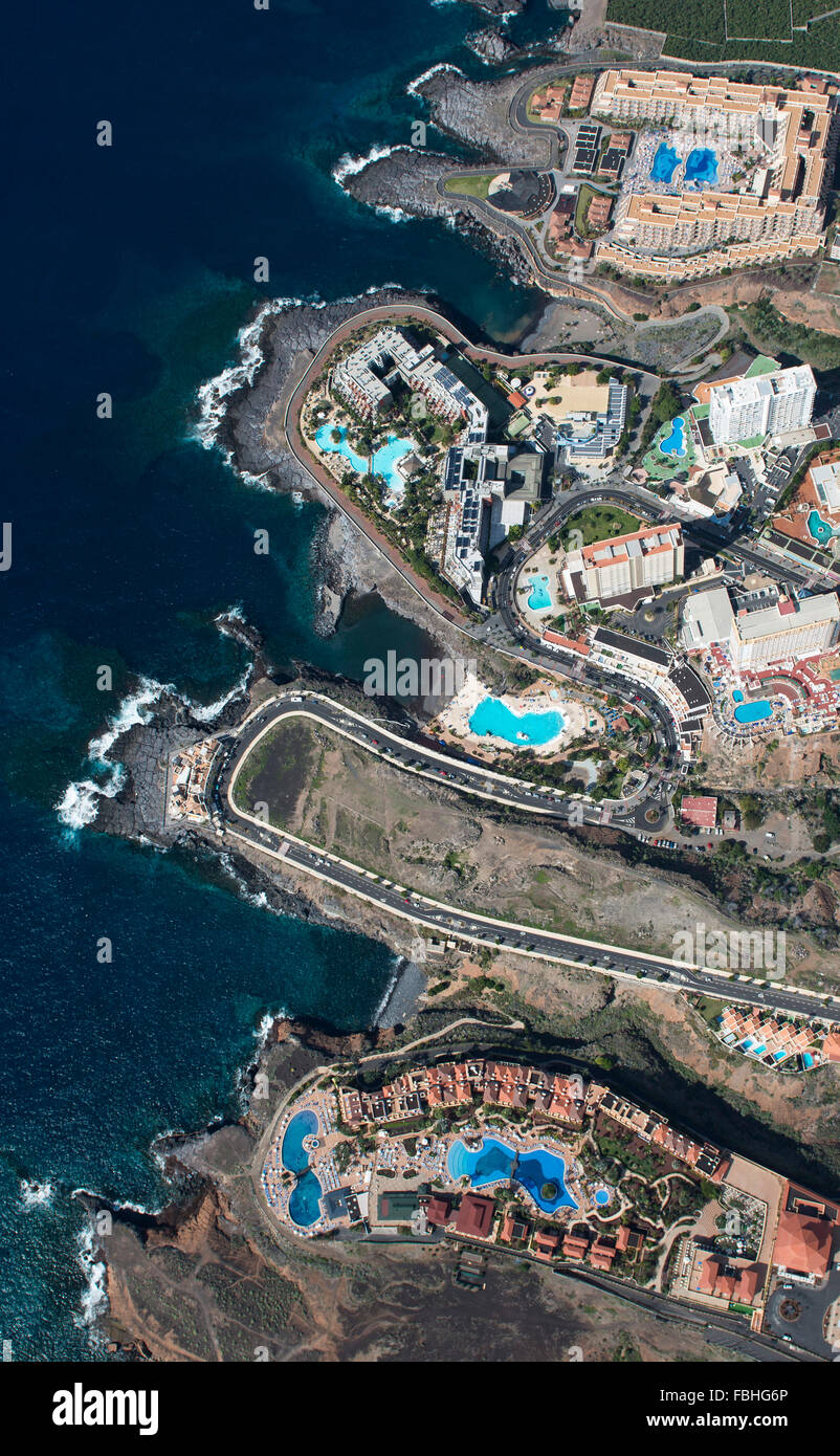 Tenerife, Playa Paraiso, El Roque, Punta Negra, El Pinque, aerial picture, beach, the Atlantic, sea, promenade, - Stock Image