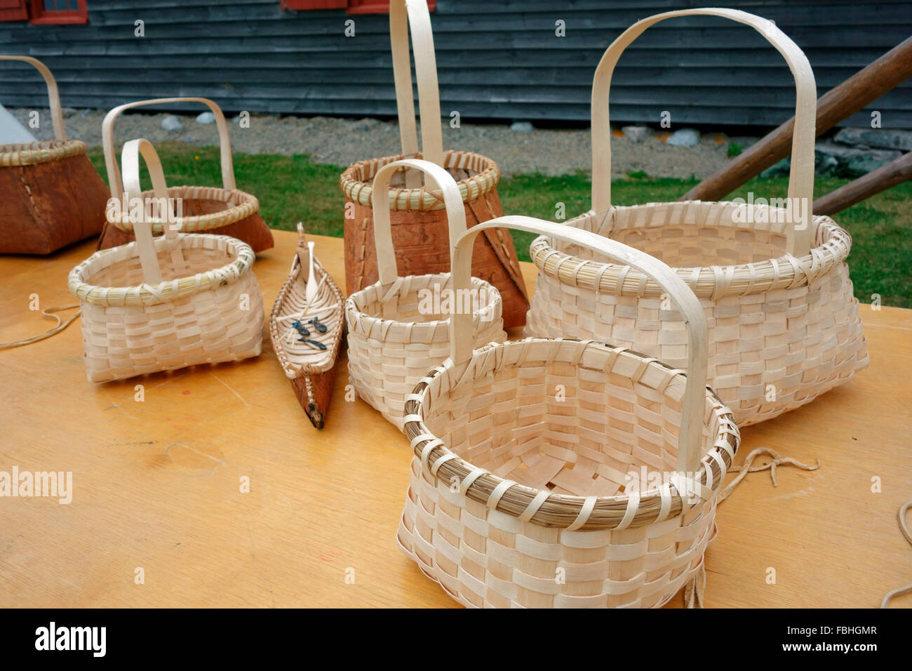 Baskets made by First Nations people in Canada - Stock Image