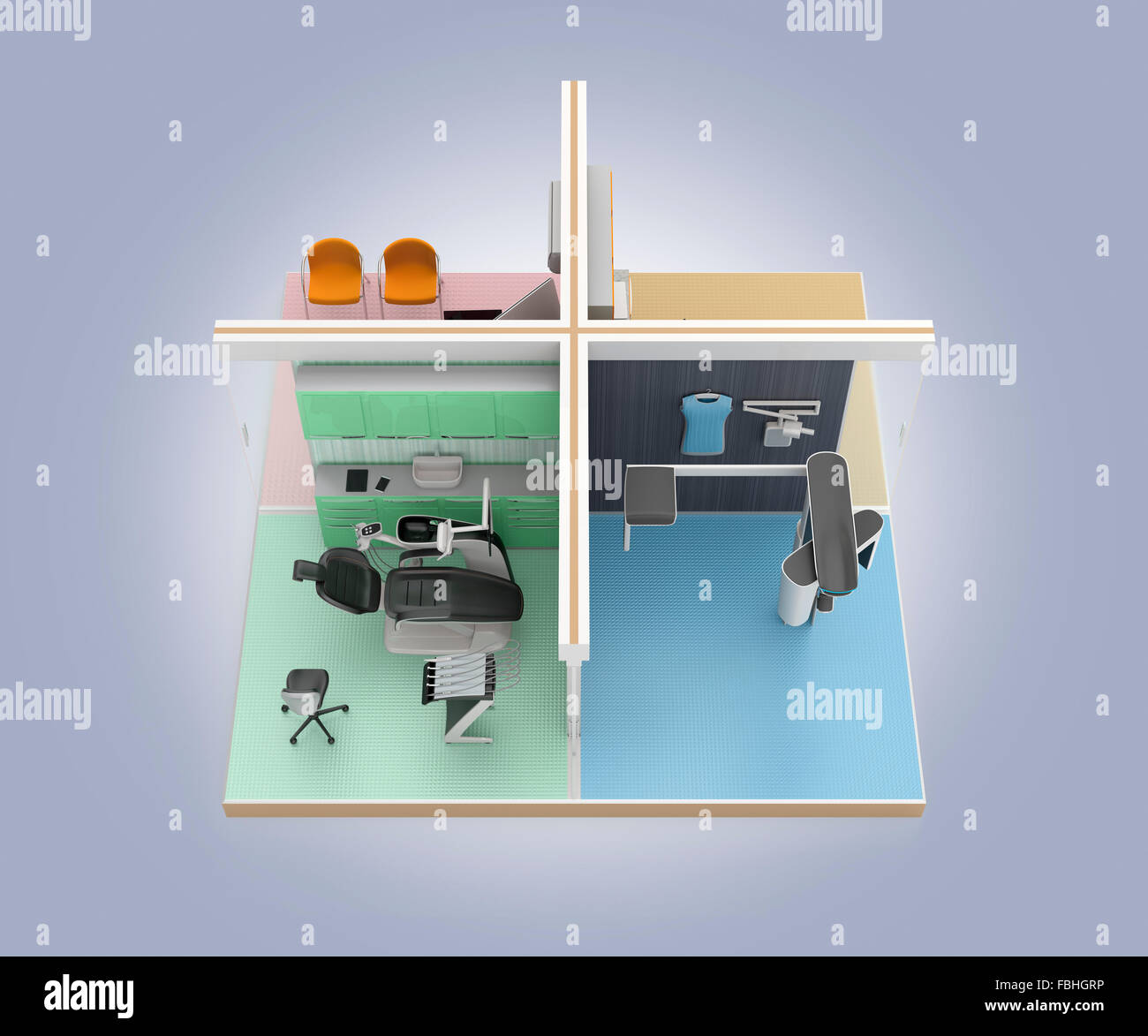Isometric View Of Dental Clinic Interior 3d Rendering Image With