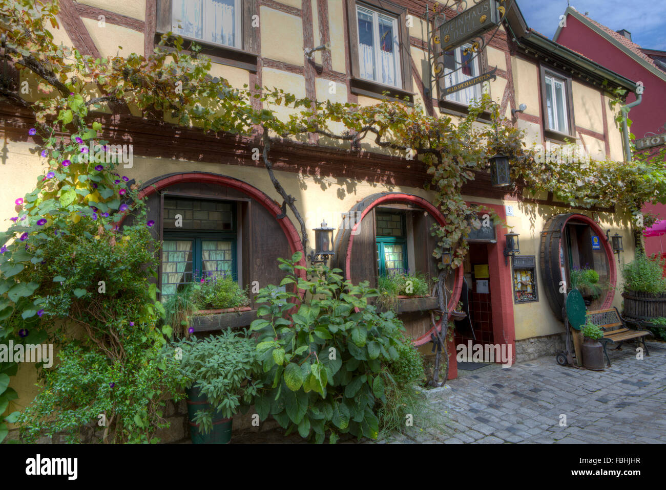 Wine tavern Dull in Sommerhausen at the Main, Lower Franconia, Bavaria, Germany, Europe - Stock Image