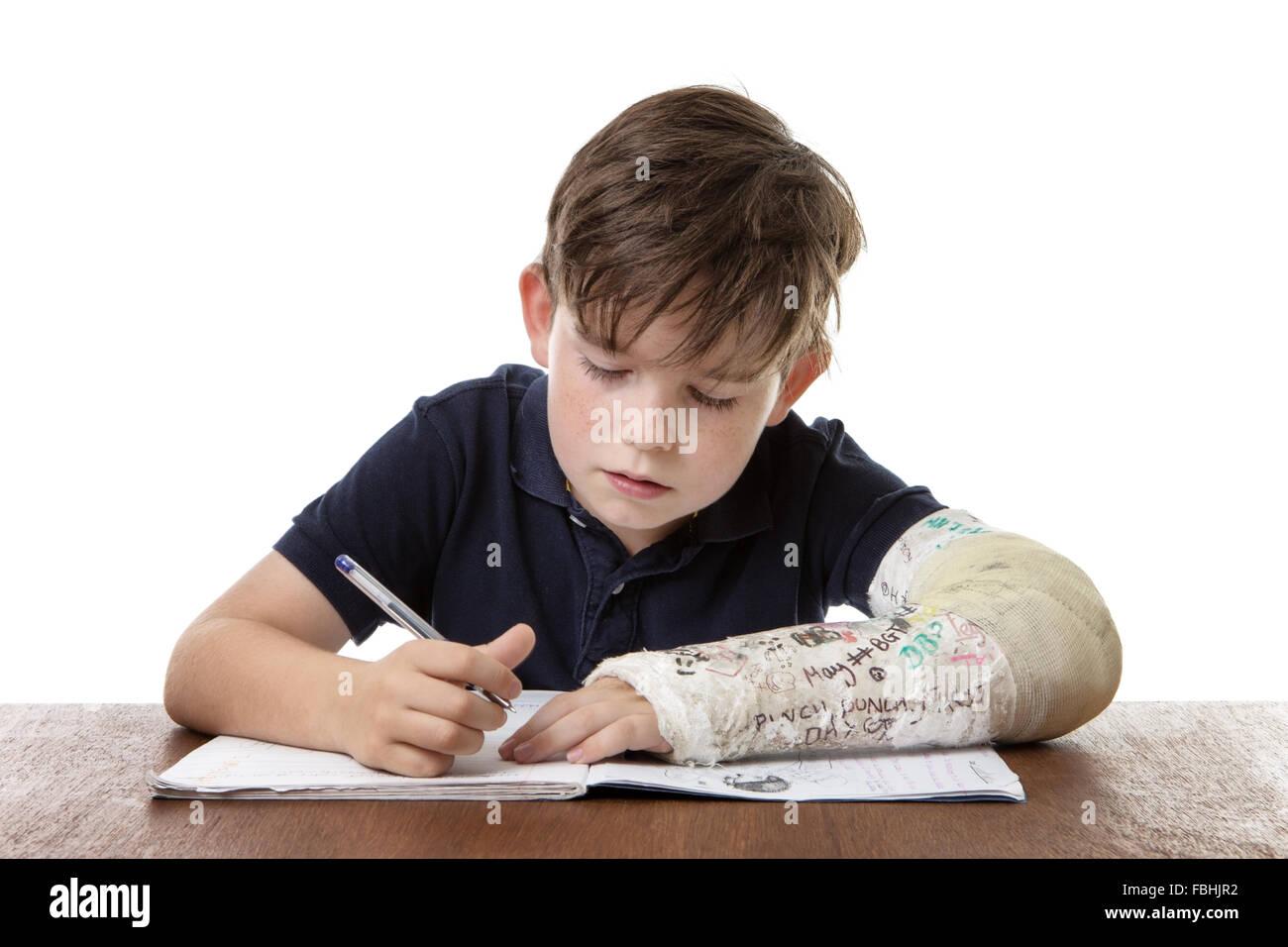 he is doing his homework