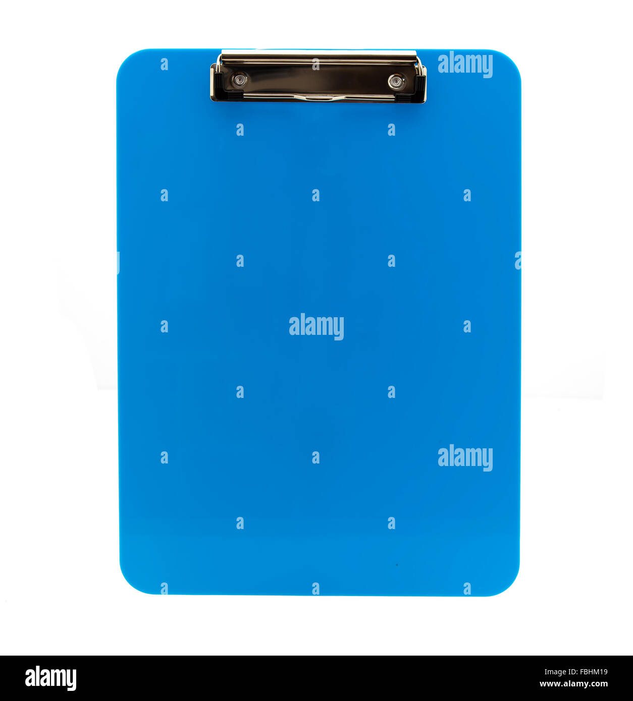 Blank Blue Clipboard on a white background - Stock Image