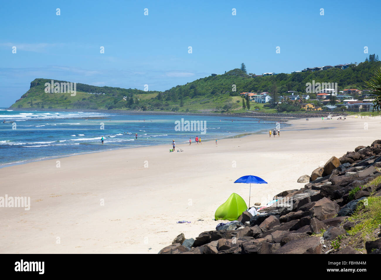 Lennox Head seaside town and its seven mile beach, northern new south wales,australia - Stock Image