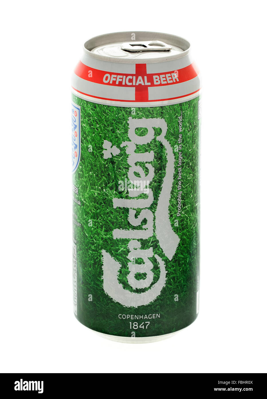 Can of Carlsberg the official Beer of the England football team 2014 World Cup on a white background - Stock Image